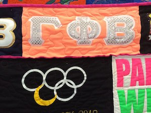 Bling on a sorority quilt
