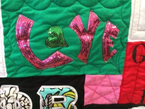 T-shirt quilt with bling